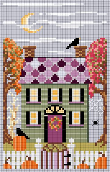 Autumn House Cross Stitch Chart