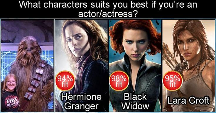 What Characters Suits You Best If You're An Actor/actress? These things are dumb and I LOVE THEM.