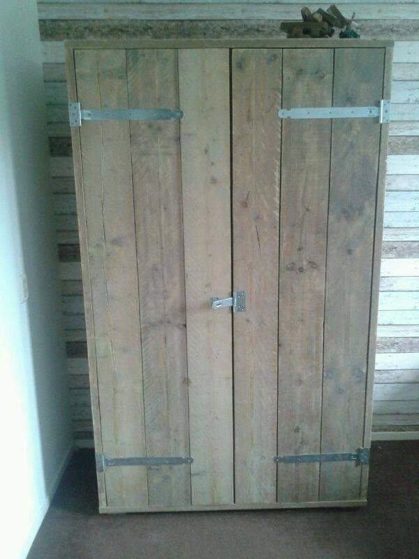 stoere kast van gebruikt steigerhout kledingkast of voorraadkast wonen in 2018 pinterest furniture closet and home