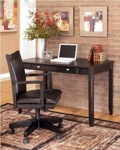 """Home Office Small Leg Desk in Almost Black by Famous Brand Furniture. $264.49. Constructed of select veneers and hardwood solids.. Inches: 47.75"""" W x 28.13"""" D x 30.06"""" H. Matching pieces available separately.. Rich dark finish.. Small desk only.. This home office small desk is constructed of select veneers and hardwood solids in a rich dark finish. Matching pieces available separately. Dims: Inches: 47.75"""" W x 28.13"""" D x 30.06"""" H"""