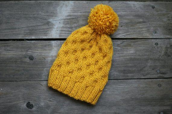 Knit beanie hat yellow mustard winter accessories by katerynaG