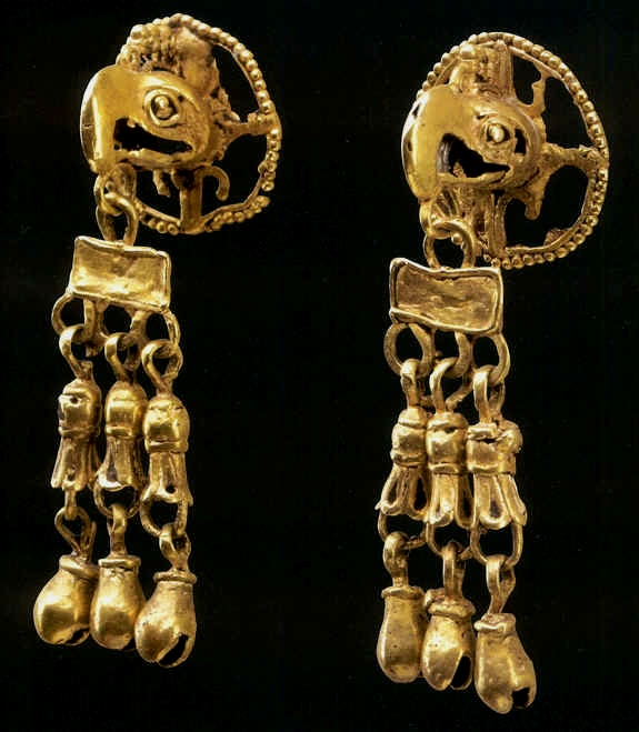 Gold Aztec Ear Pieces | Included in the Mesoamerican Mexican Aztec (Mexica) Gold Exhibition.