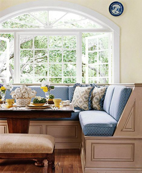 When I was four I went to California to see my godfather; in their house they had a beautiful breakfast nook. Ever since then I have wanted one in my home. The bay window is an excellent addition.: Kitchen Banquette, Dining Room, Idea, Benches, Banquette Seating, House