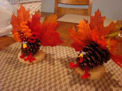 DIY Pine-Cone Turkeys. A funny little decoration that the kids, and you, will have a blast making. #Thanksgiving