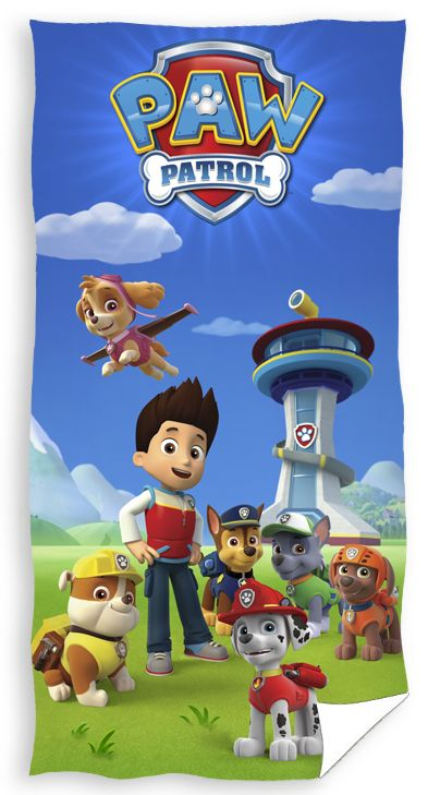 Niebieskie bawełniane ręczniki dla dzieci z pieskami Paw Patrol