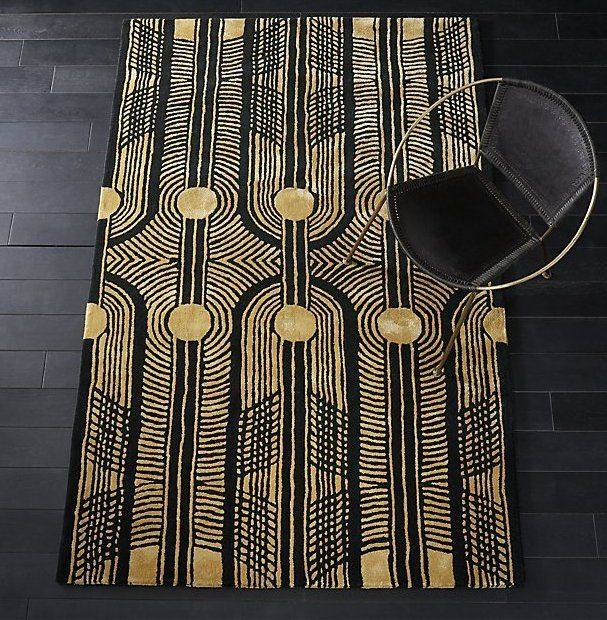Deco Inspired Woven From Thick Wool Yarn And Silky Rayon Threads This Rich Black And Gold Rug Has An Unmistak Funky Home Decor Modern Area Rugs Art Deco Rugs