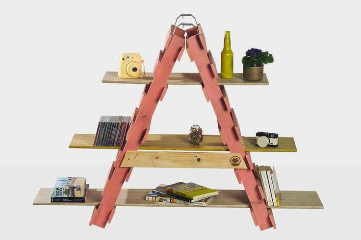 Sl11 2 estructura de escalera con palets y baldas con - Baldas de madera ...
