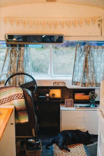 Julie and Andrew, a young couple's old school bus conversion