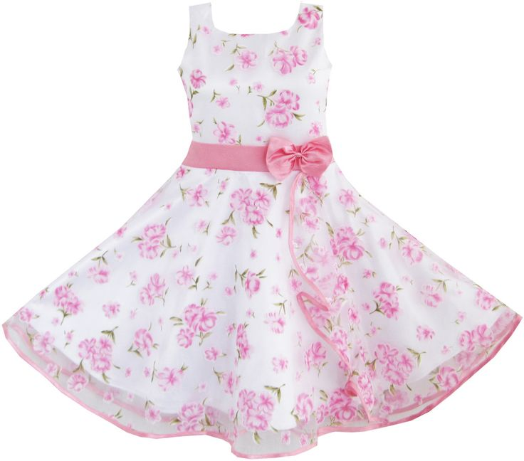 3 Layers Girls Dress Pink Flower Wave Pageant Wedding Size 4-12 Years