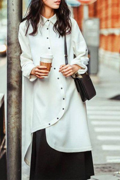 Trendy Shirt Collar Long Sleeve Asymmetric Shirt For Women