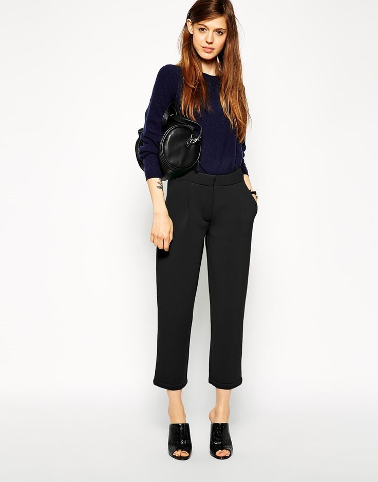Image 1 of ASOS Premium Bonded Tapered Trousers In Scuba