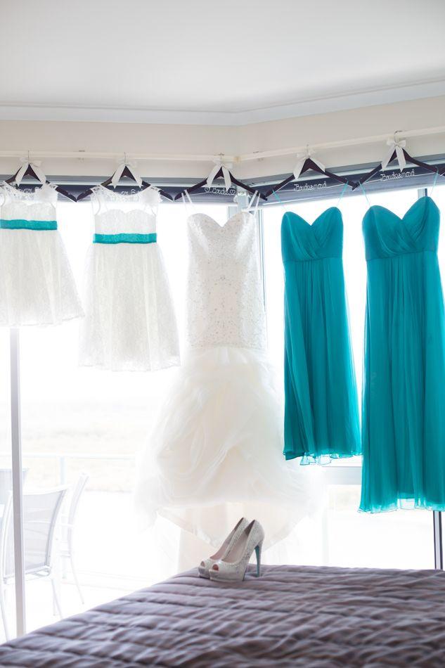 Wedding dress hanging, Ebb waterfront wedding. www.lanicarter.com