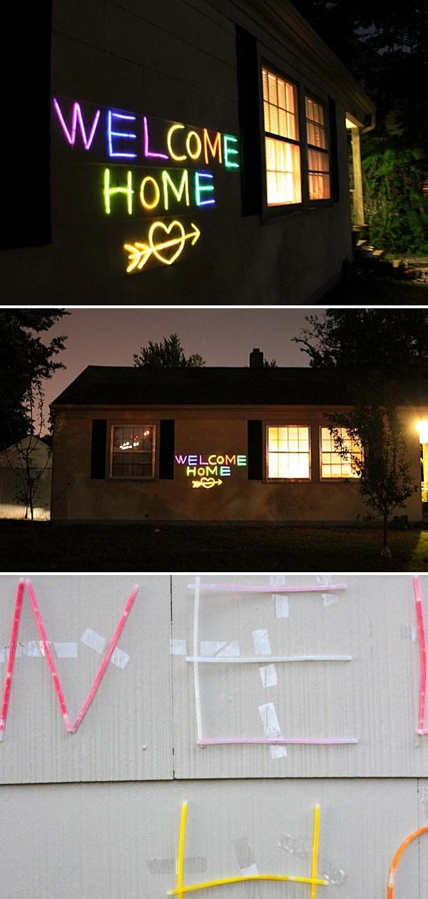 Make a Glow-In-The-Dark Project for Home Decor - 3. Use the bracelet size glow stick to craft a welcome home sign: