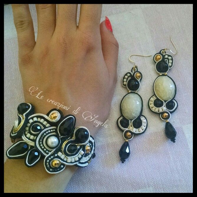 Elegant soutache bracelet and earrings ;)