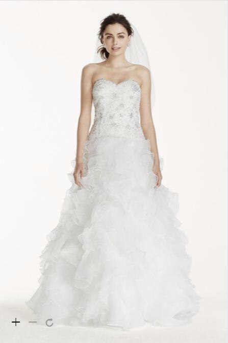 2016 бальное платье из органзы свадебные платья милая с блестками и аппликация лиф каскадные оборки WG3752 большие размеры