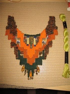 Necklace woven from perle cotton