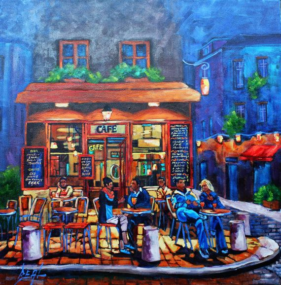Original Oil Painting Landscape People Evening by rbealart on Etsy, $649.00