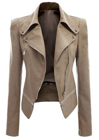 Fashionable Turn-Down Collar Zippered Long Sleeve PU Leather Jacket For WomenJackets | RoseGal.com