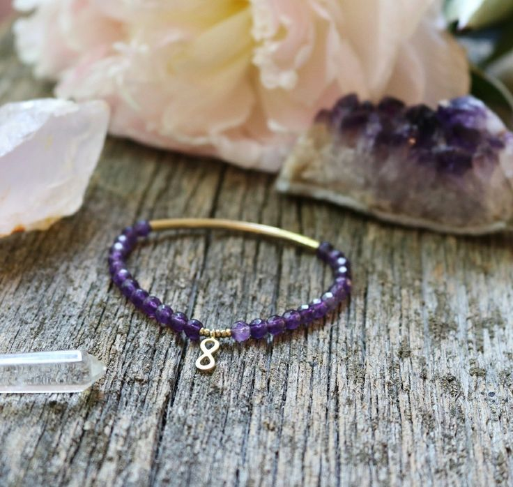 Amethyst bracelet with gold infinity charm