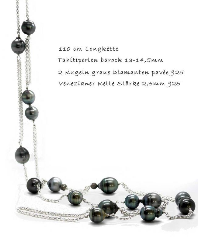 Kette Tahitiperlen  und Diamantkugeln - 110 cm