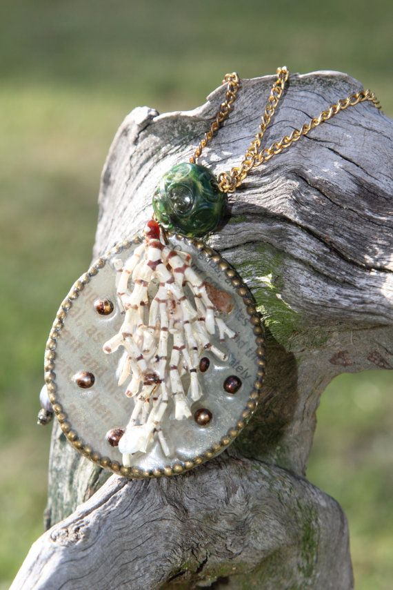 Coral pendant necklace by DriftwoodandMoss on Etsy