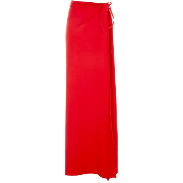 La Perla Dunes Sarong Skirt ($182) ❤ liked on Polyvore featuring skirts, red, red skirt, la perla, red knee length skirt and la perla skirt
