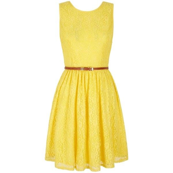 Yumi Lace Day Dress (£55) ❤ liked on Polyvore featuring dresses, yellow, clearance, sleeveless lace dress, sleeveless cocktail dress, skater dress, waist slimming belt and wrap dress