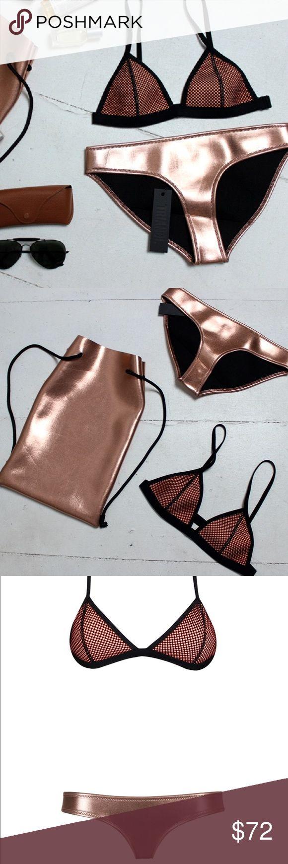 OLLIE Triangl bikini!! READ DESCRIPTION Brand new Triangl bikini in gold! Selling for a friend so it's not in stock yet. Both top and bottom are size small. triangl swimwear Swim Bikinis