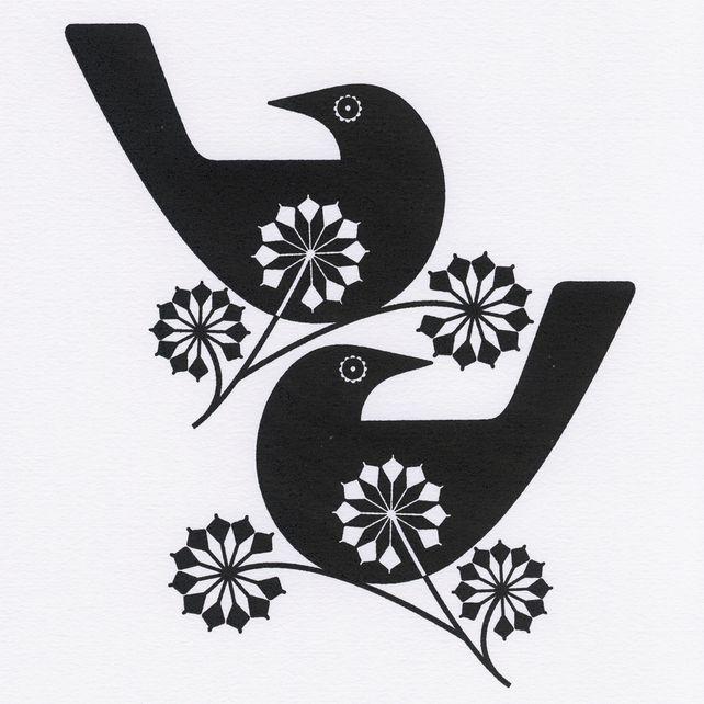 Blackbirds And Ivy Blossom - An Original Hand Pulled Gocco Screen print