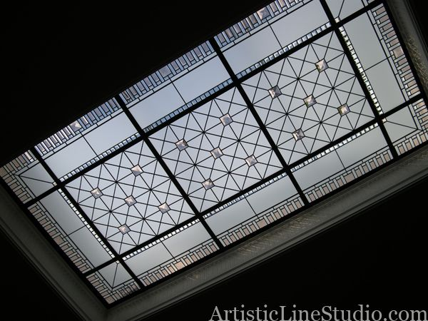 Stained glass skylight with custom made jewel crystals and colored beveled glass for a private residence in Toronto