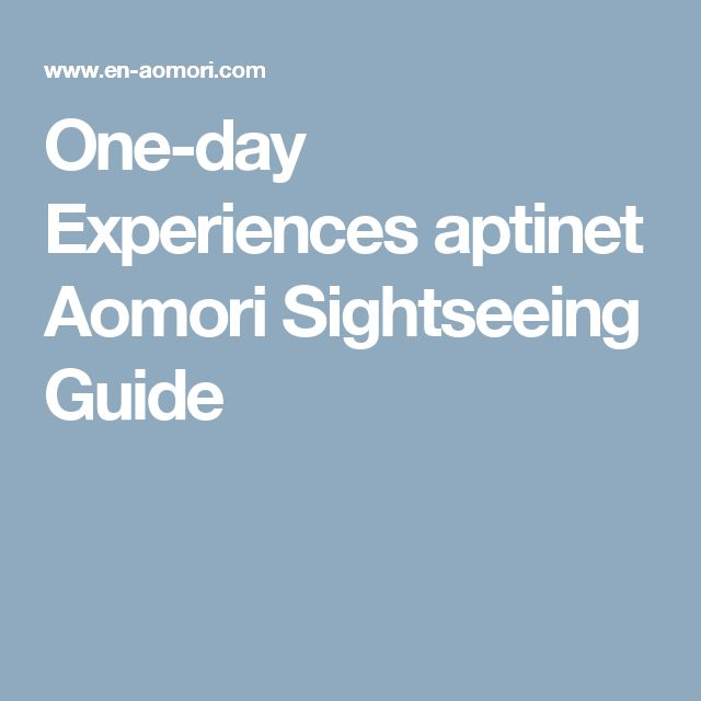One-day Experiences aptinet Aomori Sightseeing Guide