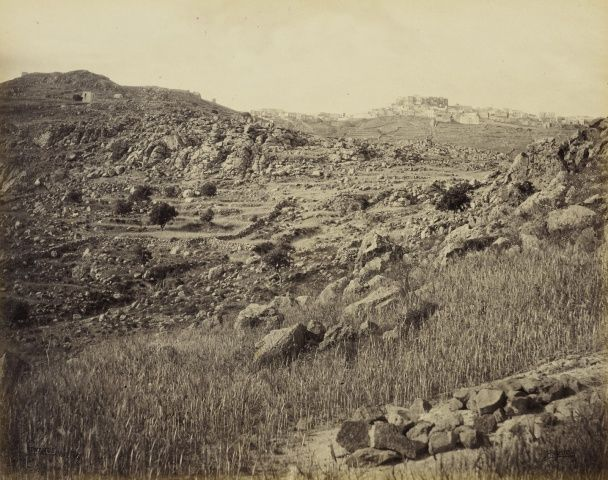 Patmos - the Citadel  17 May 1862. View up rocky hillside towards distant citadel of Patmos. The photograph is signed and captioned in the negative, 'F Bedford Patmos'. Francis Bedford (1815-94) Acquired by the Prince of Wales, 1862 )