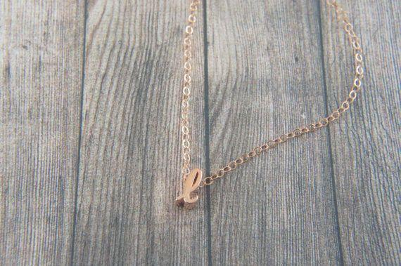 """Kursive Rose Gold Buchstaben, Alphabet, Initial """"l"""" Halskette, Geburtstagsgeschenk, Glücksbringer, geschichtet Halskette"""
