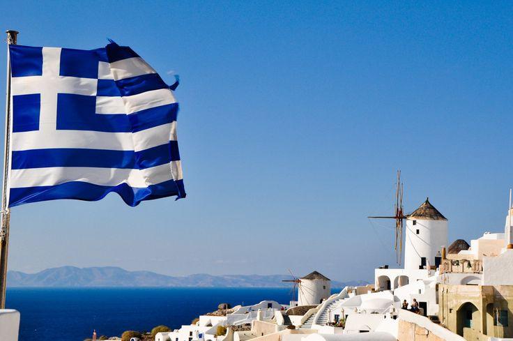 Flag & Windmills - Santorini/Fira/Oia (from #luisdehoyos at www.500px.com/dhclicks )