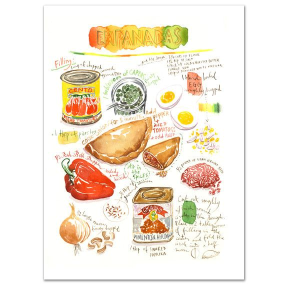 """Empanadas recipe Archival giclee reproduction print. Signed with pencil. Printed on fine art """" BFK Rives """" hot-pressed paper, smooth surface, 140 lb, 100% cotton (acid free ), using archival pigment i"""