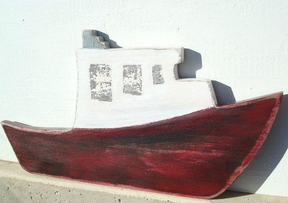 wood fishing boat от folkybirdsandfish на Etsy