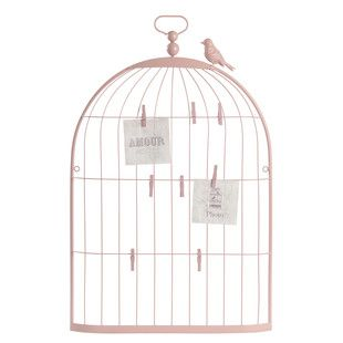 A pink bird out of the cage.