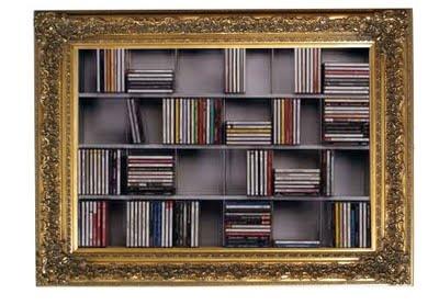 Furniture out of context... old baroque frame... new cd cabinet... - read more: http://myartistic.blogspot.com/2011/08/libreria-cornice-barocca-porta-cd.html