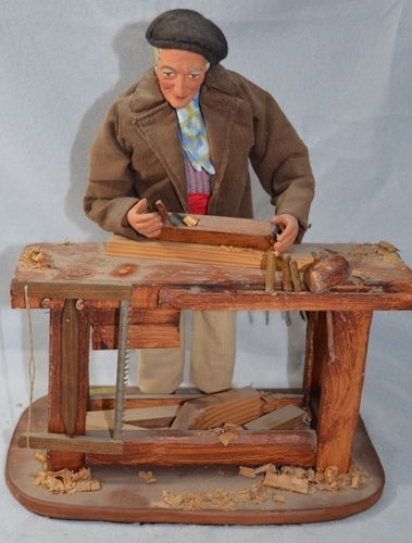 M Di Landro Santons De Provence Old Man at Workbench Signed Made in France ebay store wolfe2902