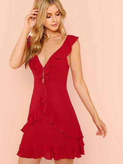 f638a2f2f5 SHEIN Plunging Neck Tiered Hem Ruffle Dress #shein #sheinside #dresses  #fashion #cocktail_dresses, #partydresses, dresses,cocktail dresses, party  dresses, ...