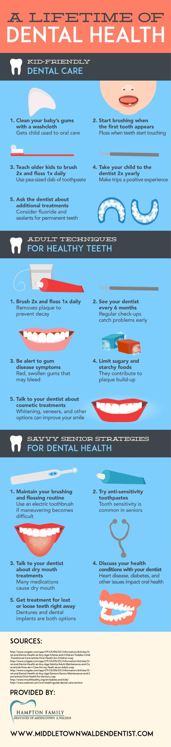 Tooth sensitivity is common in seniors. Look for anti-sensitivity toothpaste to reduce the effect of sensitive teeth and maintain optimal dental health. Get more advice about dental care during different stages of life by viewing this Middletown family dentistry infographic.