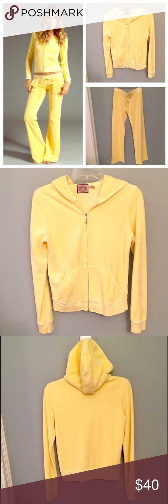 Juicy Couture Track Suit Juicy Couture Yellow Terrycloth Track Suit - zip up hooded jacket and matching sweats. *SMALL Pants* and *MEDIUM Jacket* Juicy Couture Tops Sweatshirts & Hoodies