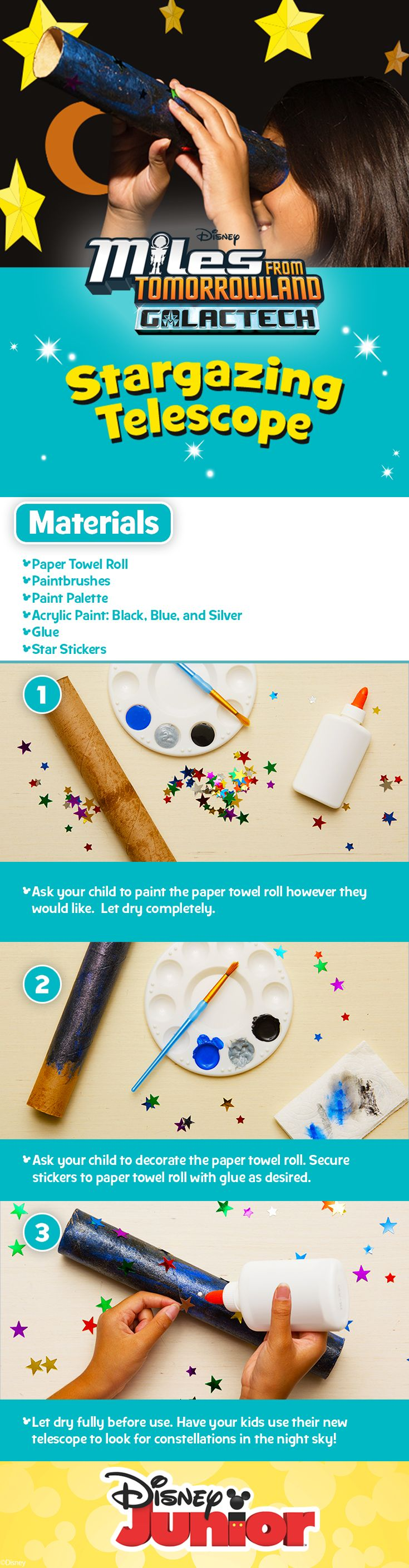 Miles From Tomorrowland Galactech Stargazing Telescope | Have your kids paint a paper towel roll with their favorite colors to create a turbo-charged telescope!