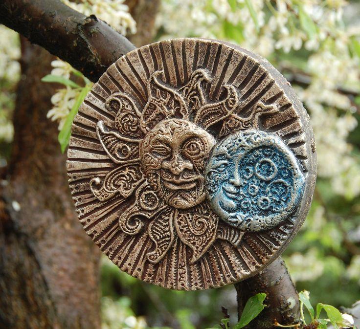 Garden Sunface Stone Art Sculpture Eclectic Eclipse Outdoor Wall Art Sun Moon Garden Art Holiday Gift (25.00 USD) by InnovativeStoneArt