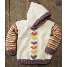 Hearts Hoodie Pattern- Available from WillowYarns.com -A cute vertical row of hearts accent the front of this adorable hoodie while striped sleeves and contrasting ribbing add to the fun. Intermediate knit instructions. Stitch Hoodie in child's sizes 4 (6, 8, 10, 12).
