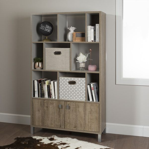 South Shore Furniture Expoz Grey/White/Weathered Laminate 9-cube Shelving Unit with Doors