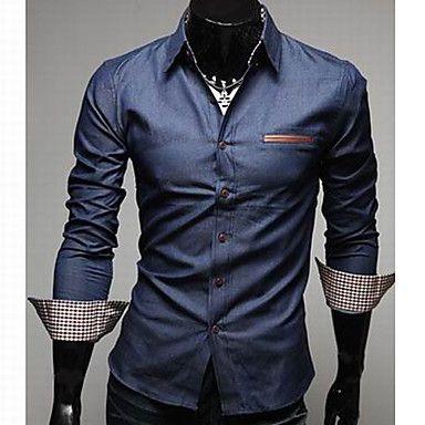 Los hombres de cuero de bolsillo delgado Denim Shirt – USD $ 24.00