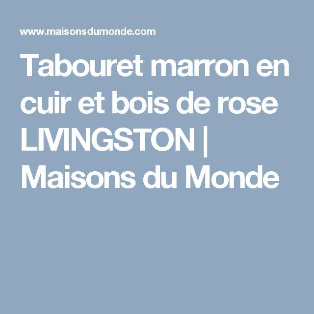 Tabouret marron en cuir et bois de rose LIVINGSTON | Maisons du Monde