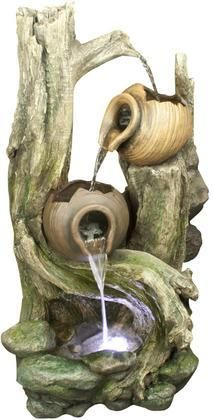 "WIN932 39"" Tiered Jars Rainforest Tree Trunk Fountain"