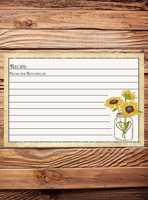 Recipe Card Recipe Card Sunflowers Mason Jar by StellarDesignsPro